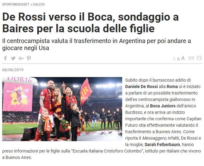 El sueño de Boca: en Italia dicen que De Rossi está buscando colegio para sus hijos en Argentina