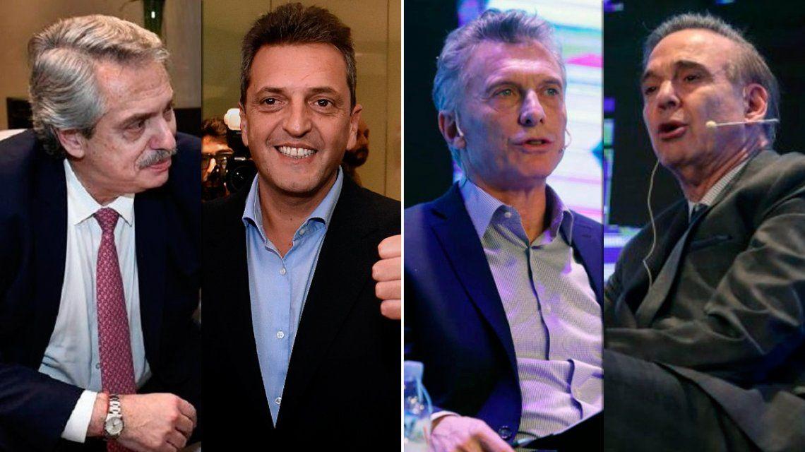 Sergio Massa con Alberto Fernández y Miguel Pichetto con Mauricio Macri