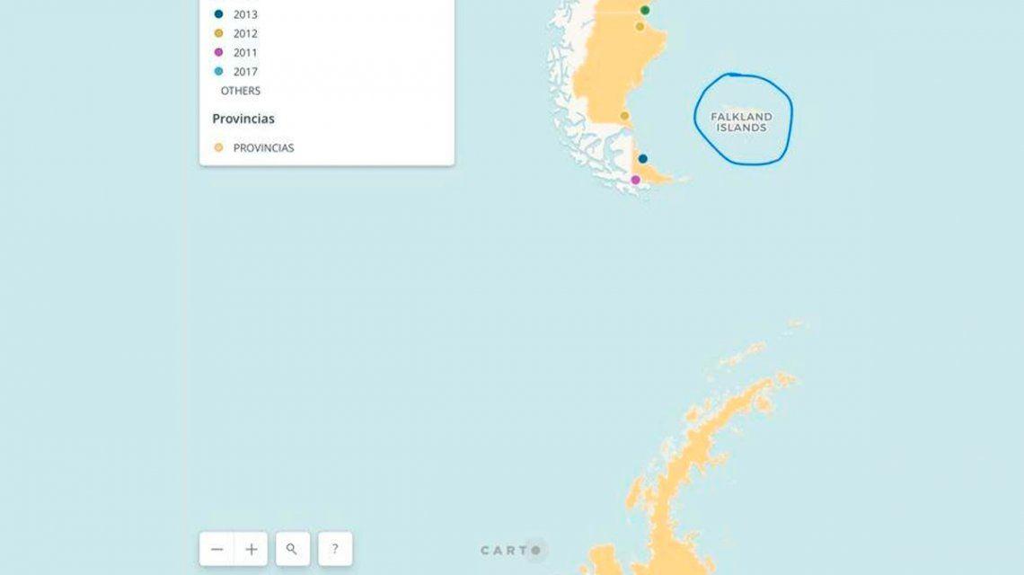 El Gobierno publicó otro mapa que llama Falkland a las Malvinas