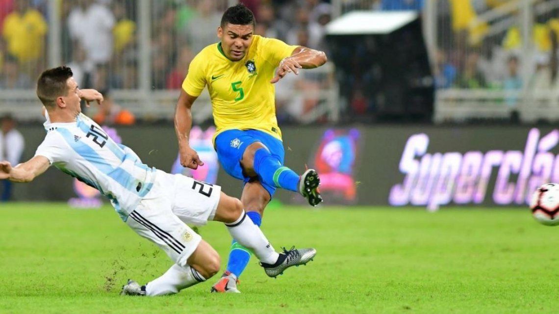 Giovanni Lo Celso en el último amistoso entre Argentina y Brasil