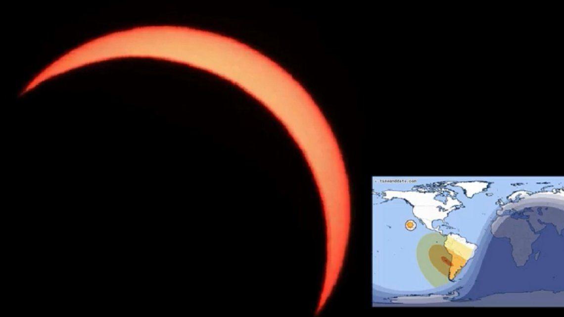 Antes, durante y después: las mejores fotos del eclipse de Sol en Argentina
