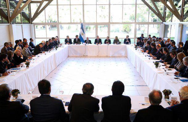 Macri con empresarios en Olivos.