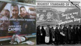 Una foto de la campaña por la reelección de Macri en 2019 y uno de los íconos de la historia del fotoperiodismo