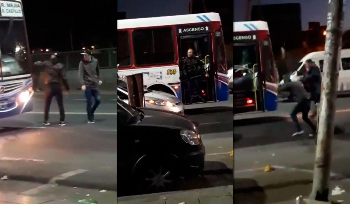 Otra violenta discusión de tránsito: brutal pelea entre un chofer de colectivo y dos jóvenes en Ciudadela