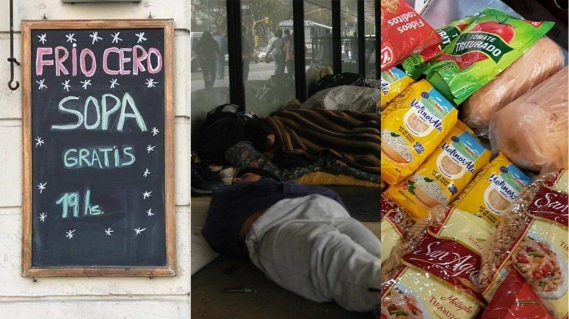 Complicados por la crisis, reparten comida y ropa en su bar para ayudar al que está peor