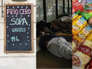 complicados por la crisis, reparten comida y ropa en su bar para ayudar al que esta peor