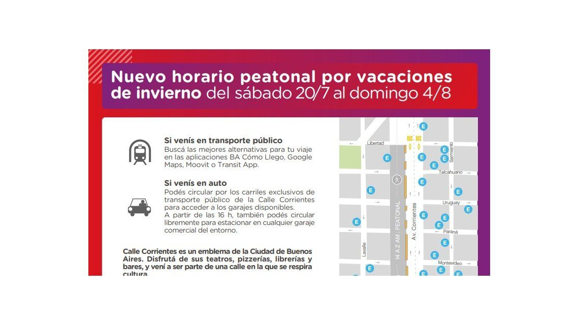 Corrientes será peatonal todos los días desde las 14 en vacaciones de invierno