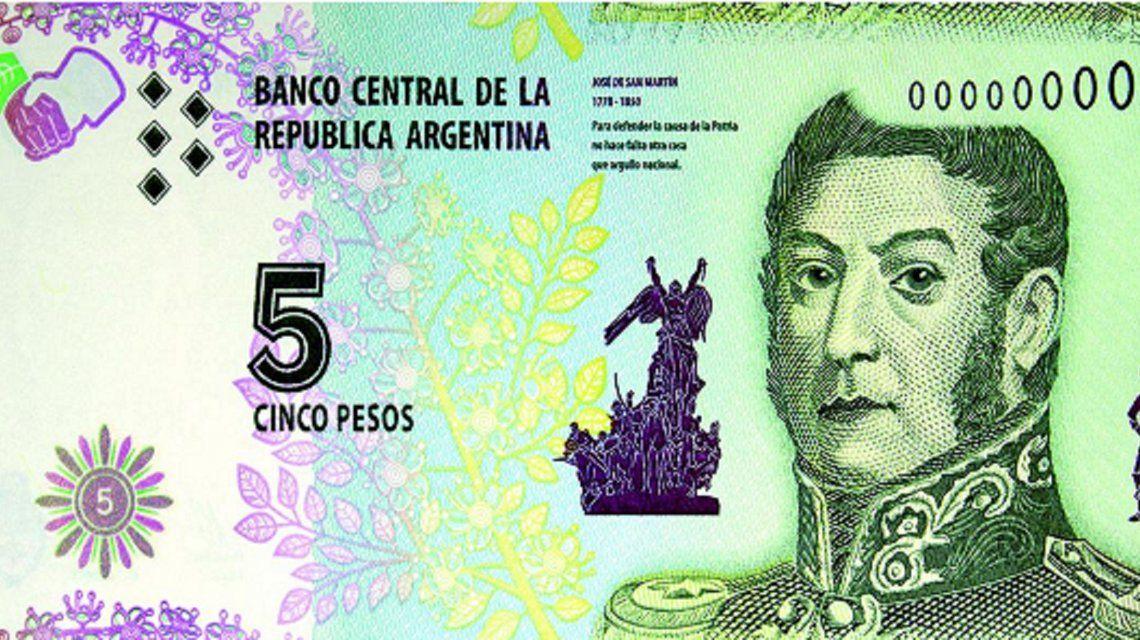 Efecto inflación: El billete de 5 pesos dejará de circular a partir de febrero de 2020