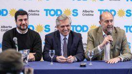 Marcos Cleri, Alberto Fernández y Omar Perotti