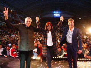 José Luis Gioja, Cristina Kirchner y Sergio Uñac