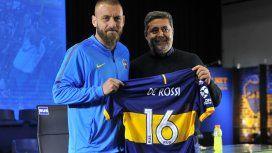 El presidente de Boca junto al flamante refuerzo, Daniele De Rossi