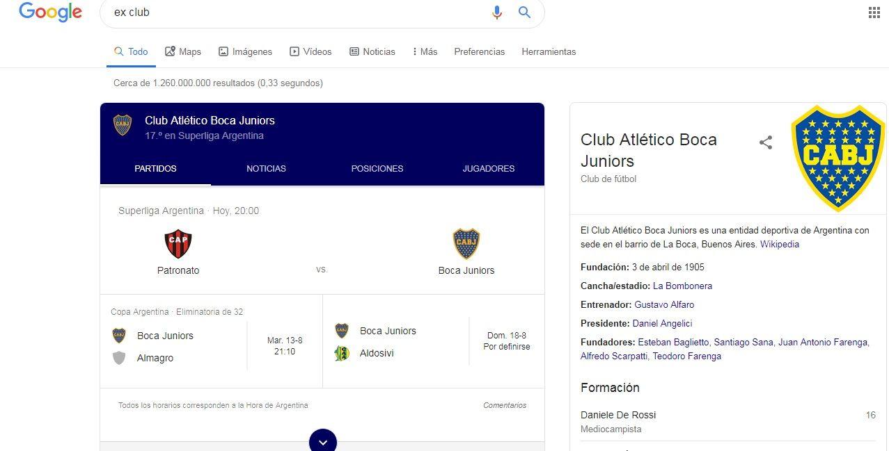 Insólito: si buscás ex club en Google aparece Boca
