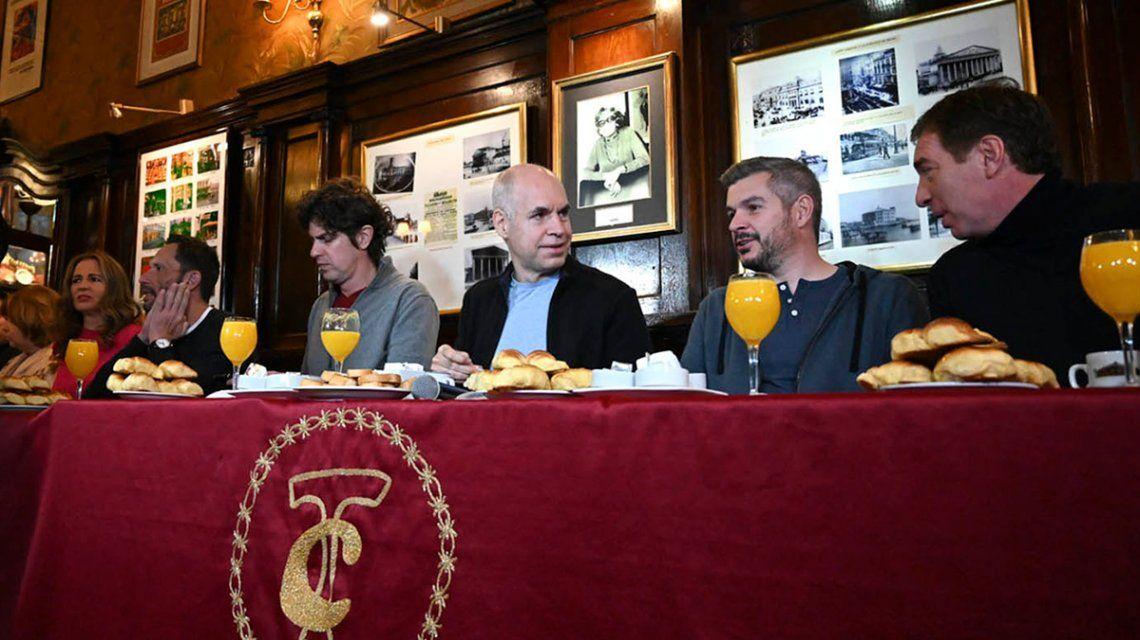 Larreta, Lousteau y Peña desayunaron en el Café Tortoni antes de votar
