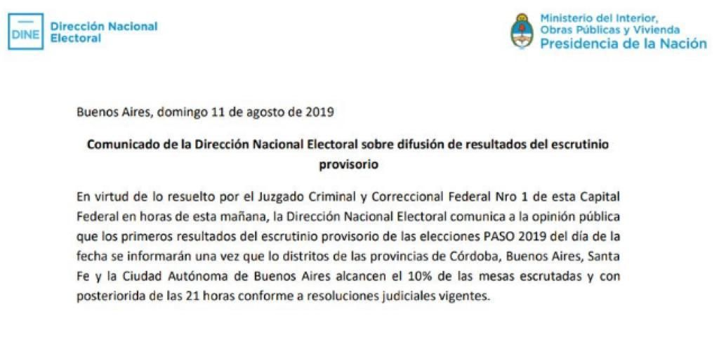La Dirección Nacional Electoral informó qué datos se difundirán primero del escrutinio provisorio