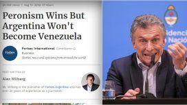 Forbes: Ganó el peronismo, pero Argentina no será Venezuela
