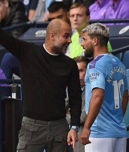 Pep Guardiola y Kun Agüero