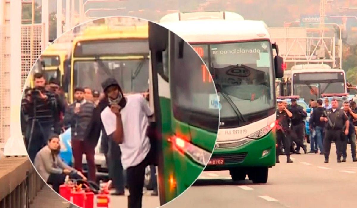 Toma de rehenes en Rio de Janeiro: el secuestrador se atrincheró en un micro con bombas molotov