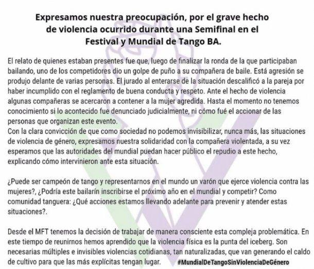 Comunicado del Movimiento Feminista de Tango