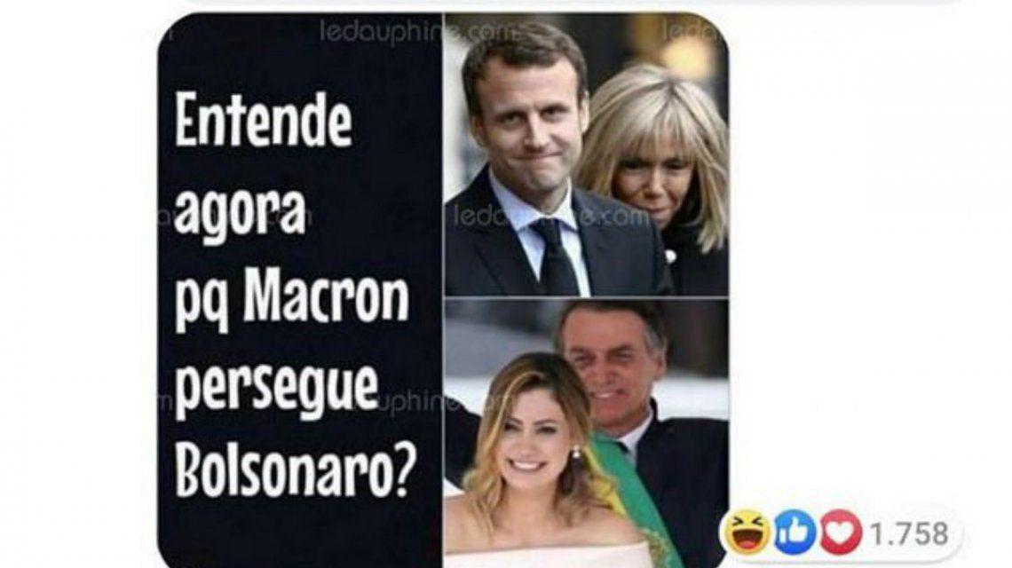 Bolsonaro hizo un comentario despectivo sobre la mujer de Macron en Facebook
