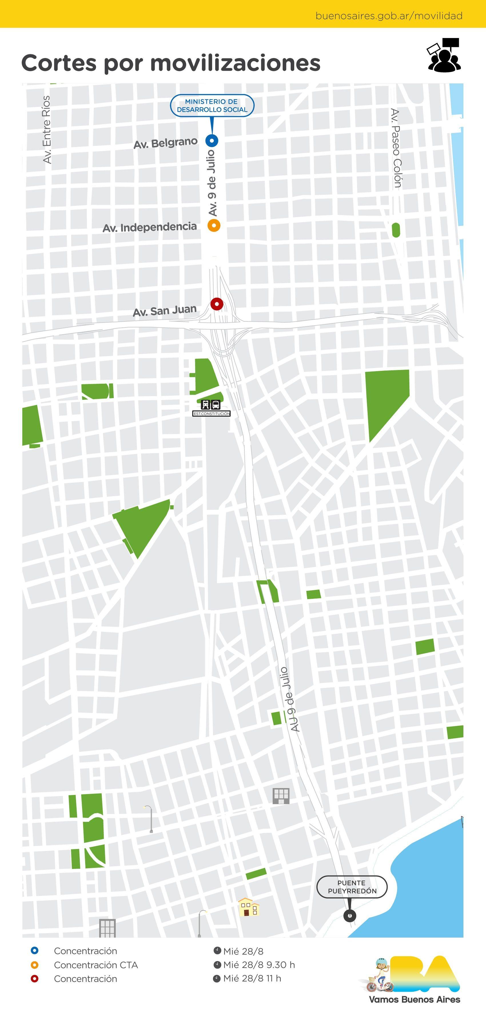 Mapa: los cortes de tránsito de este miércoles en la Ciudad por la Jornada Nacional de Lucha