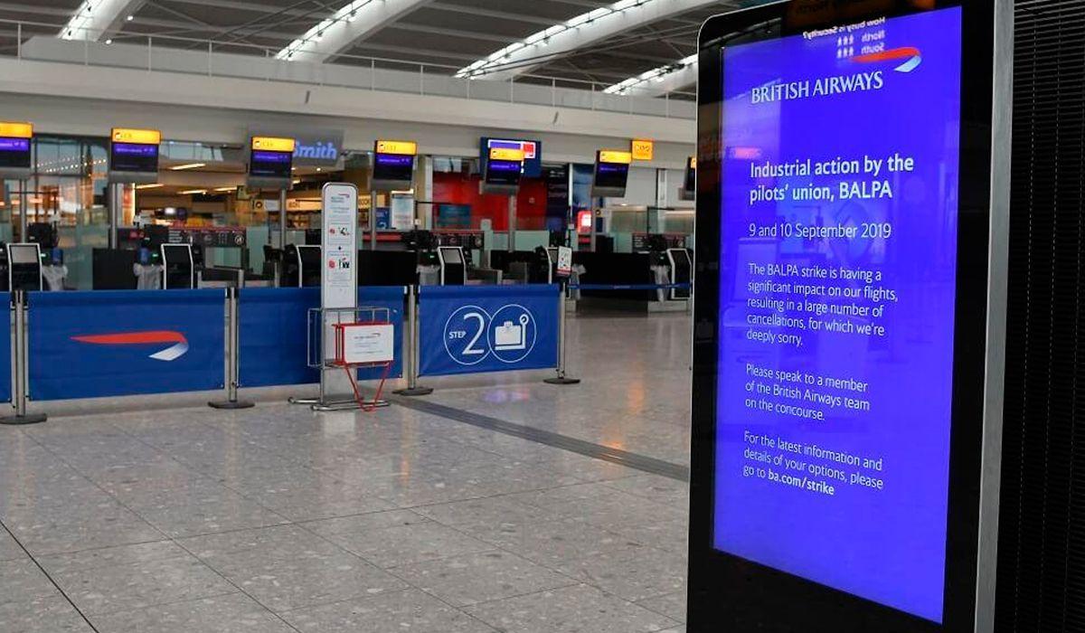 British Airways canceló todos sus vuelos por un paro de pilotos