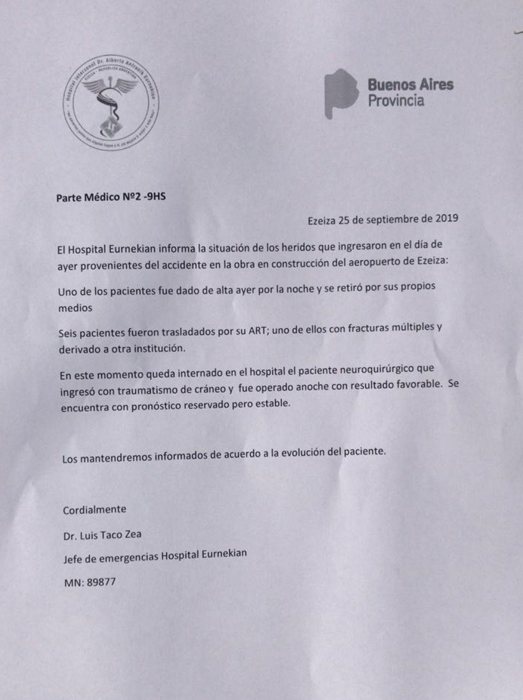 Parte médico de obreros heridos en Ezeiza