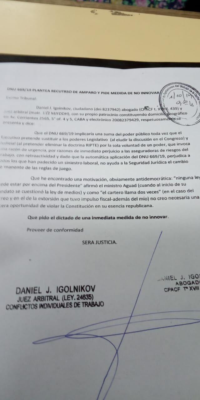 Presentaron un amparo contra el decreto de Macri que reduce las indemnizaciones laborales