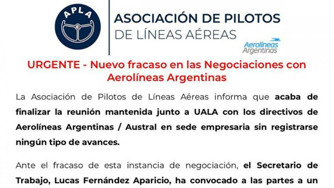 Fracasó una nueva reunión entre pilotos y ejecutivos de Aerolíneas Argentinas: se ratificó el paro