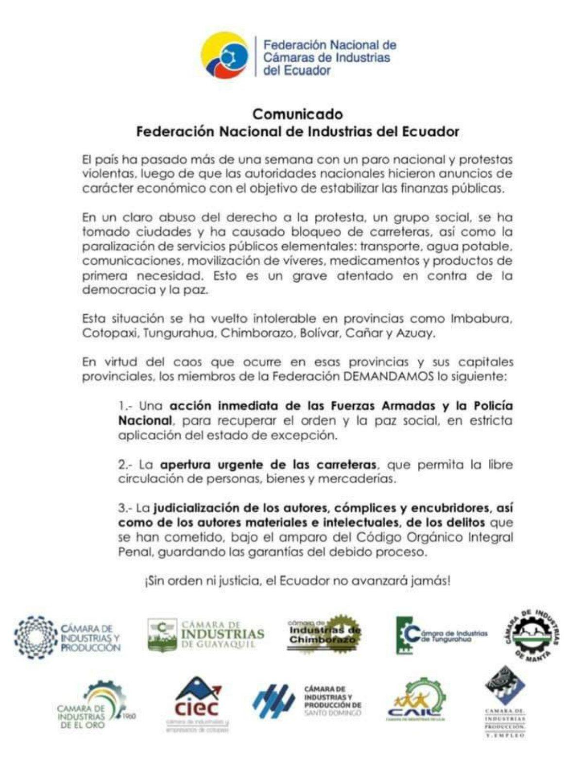 Los industriales de Ecuador pidieron la acción inmediata de las Fuerzas Armadas para reprimir las protestas
