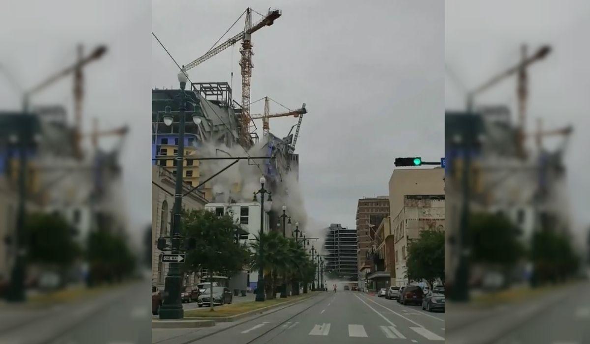 Impactante derrumbe de un hotel en construcción: un muerto y 18 heridos