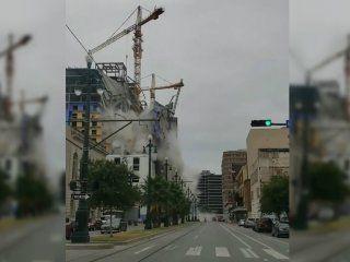 impactante derrumbe de un hotel en construccion: un muerto y 18 heridos