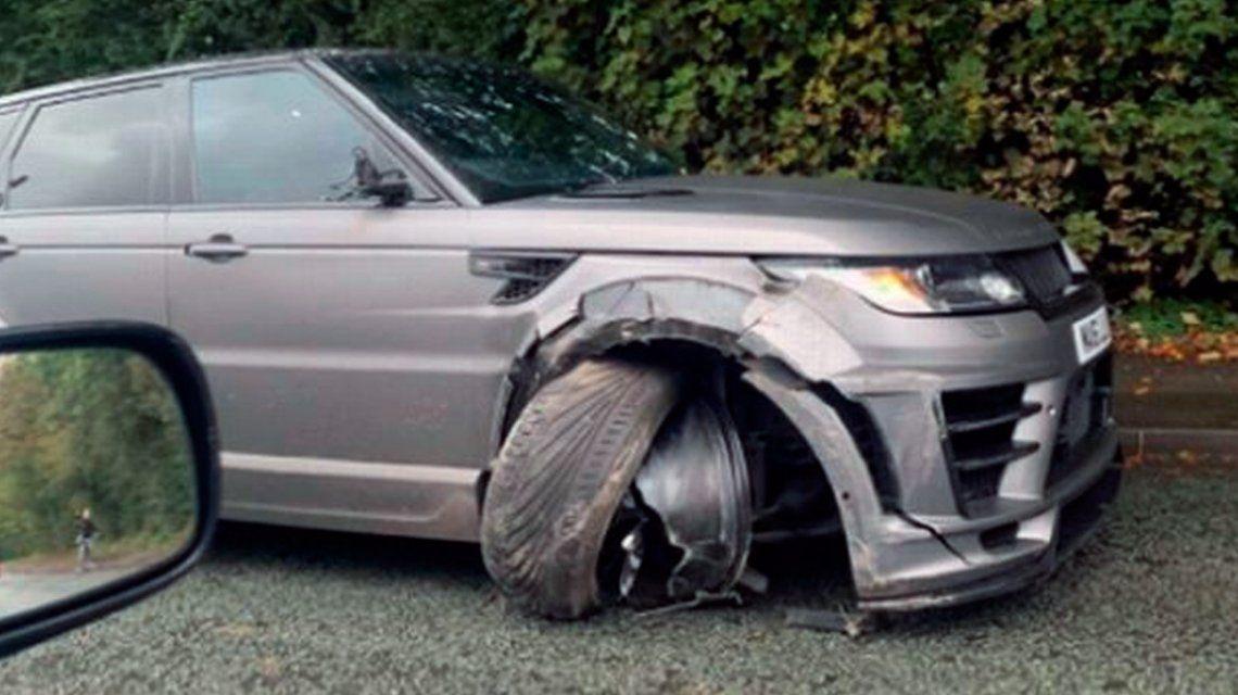 El Kun Agüero chocó cuando iba a entrenar: así quedó su camioneta