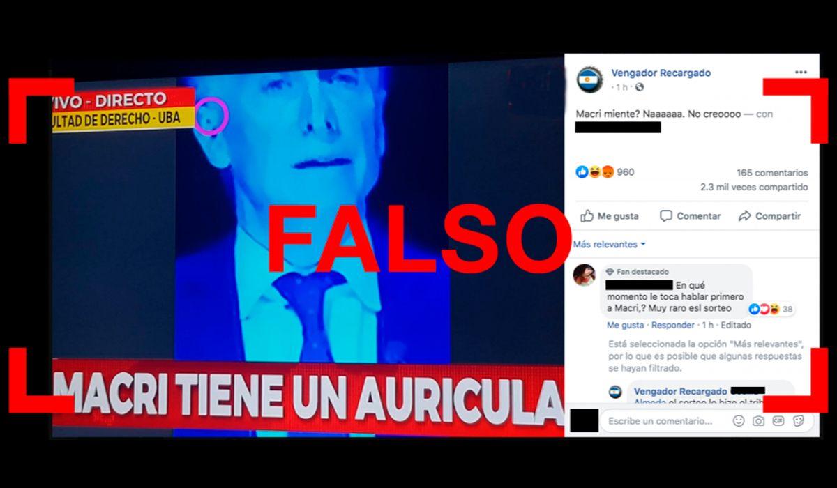 Es falso que Macri tenía un auricular durante el debate presidencial