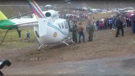 El helicóptero que trasladaba a Evo Morales tuvo que aterrizar de emergencia