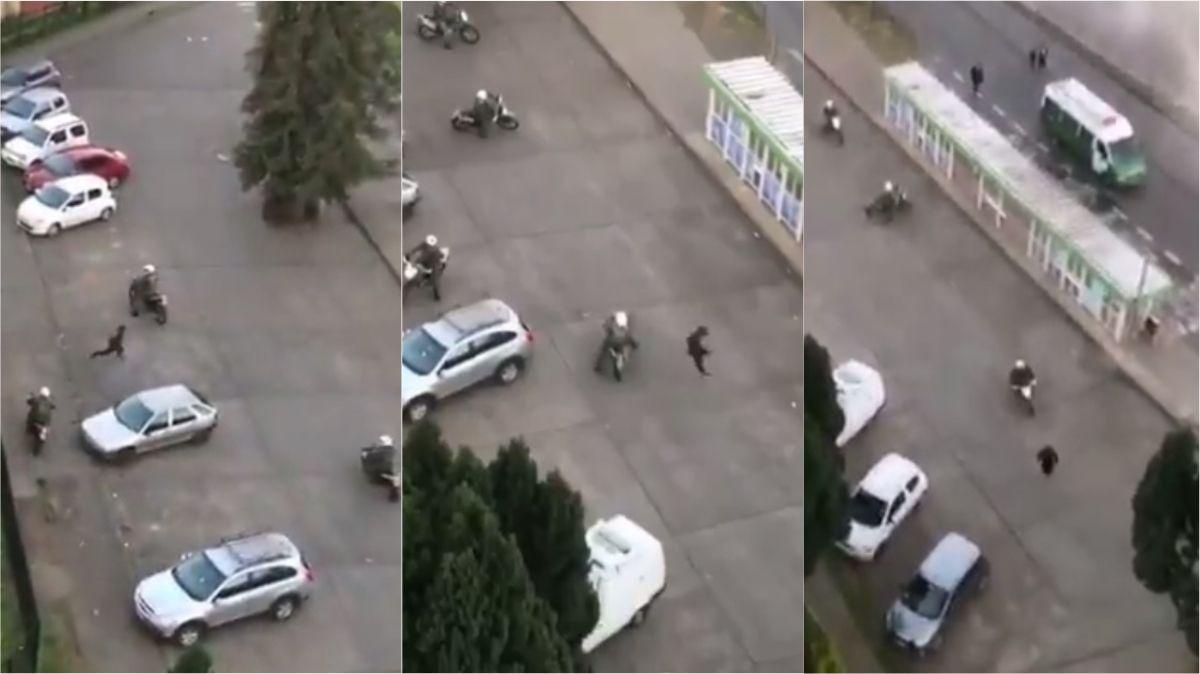 VIDEO: Un hombre se les escabulló a cinco policías motorizados en Chile
