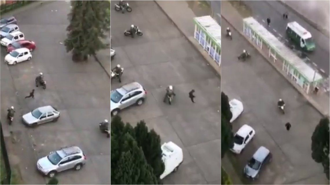 VIDEO: Un hombre se les escabulló a cinco policías motorizados en Chile
