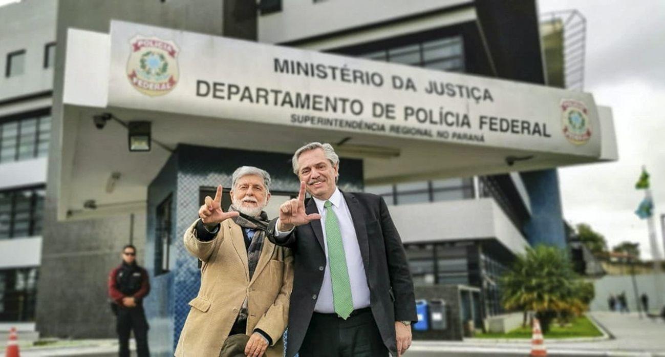 Alberto Fernández junto al ex canciller Celso Amorin
