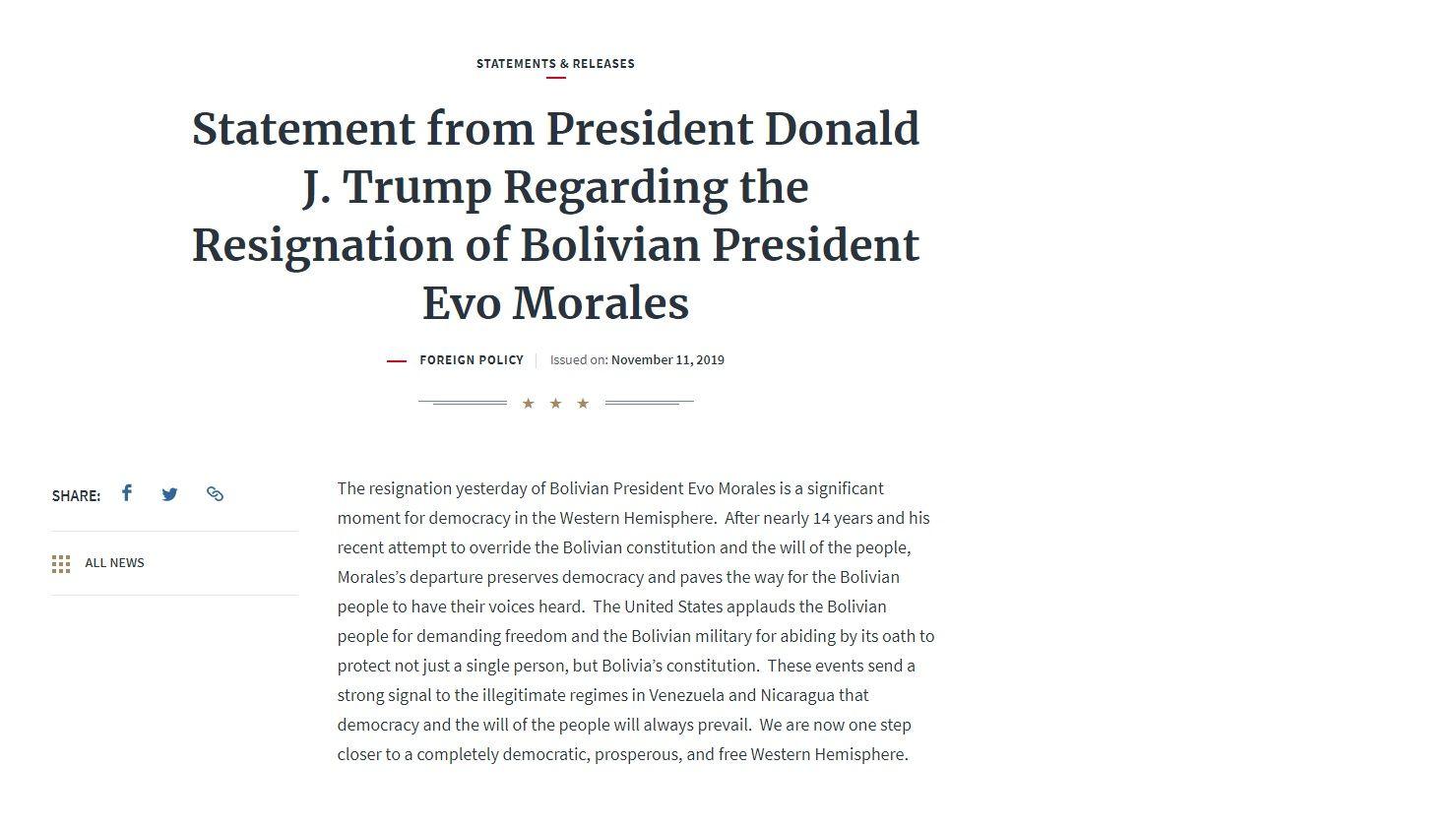 Donald Trump aplaude el golpe de Estado en Bolivia