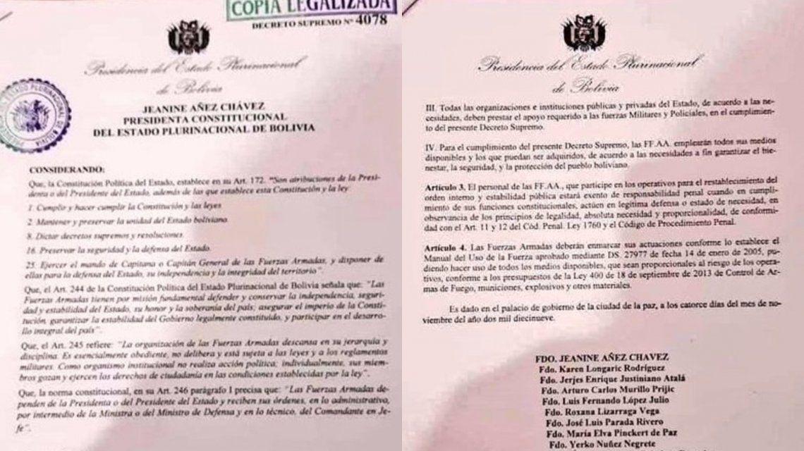 Decreto 4078 que otorga amnistía a militares y policías para que repriman en Bolivia.