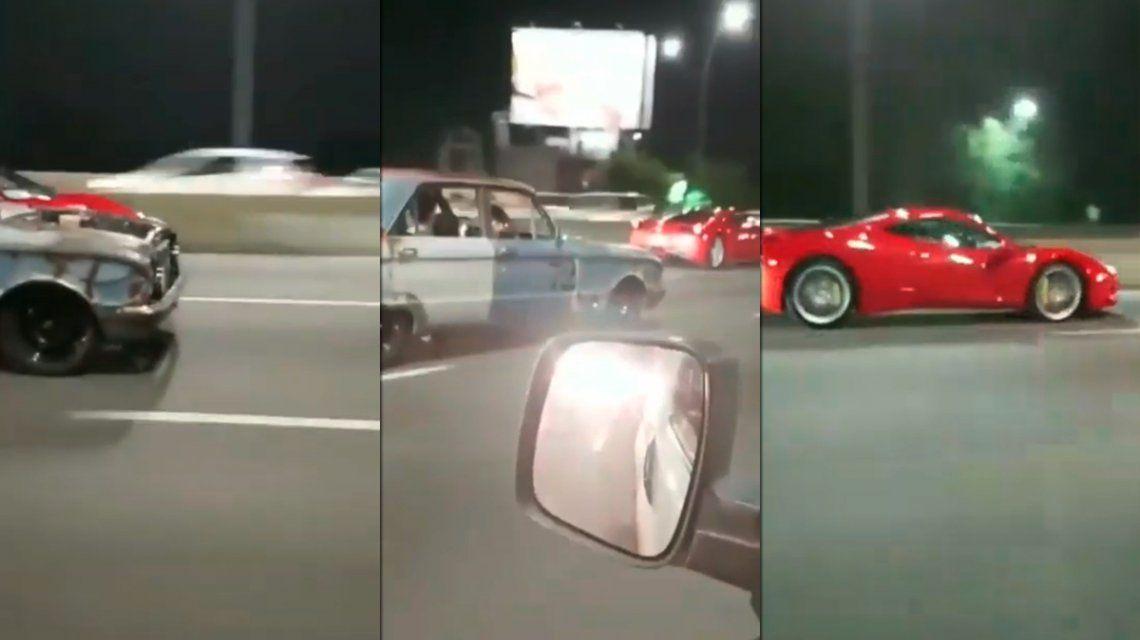 Una picada entre un Falcon y una Ferrari se viralizó en las redes sociales