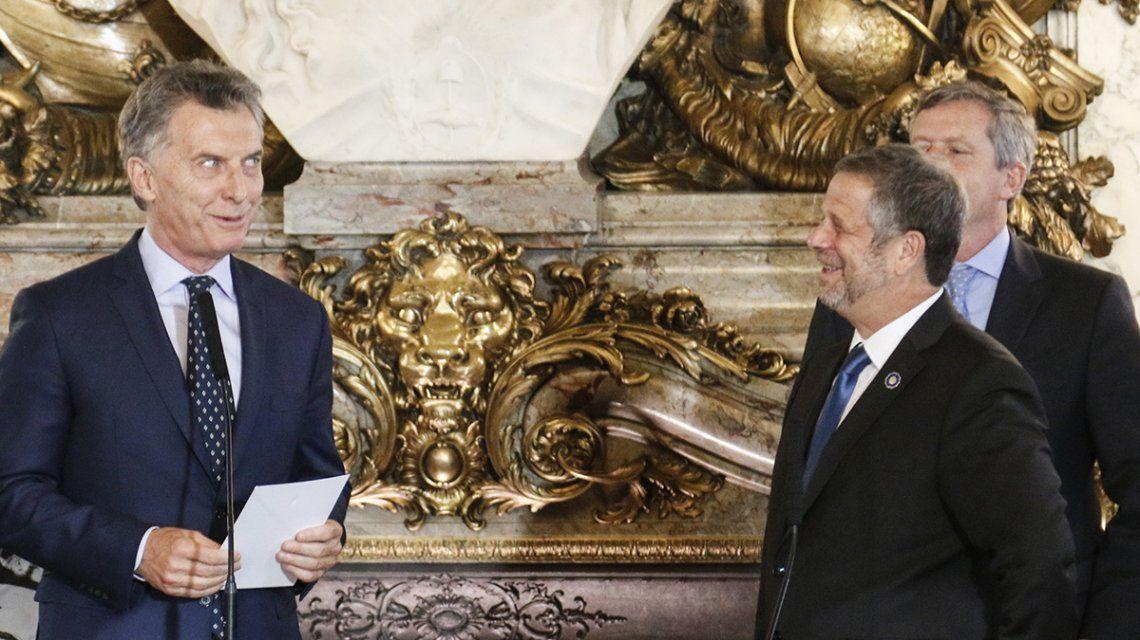 Mauricio Macri el día de la asunción de Adolfo Rubinstein como ministro