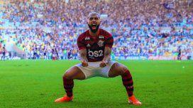 Gabigol celebra el empate ante River