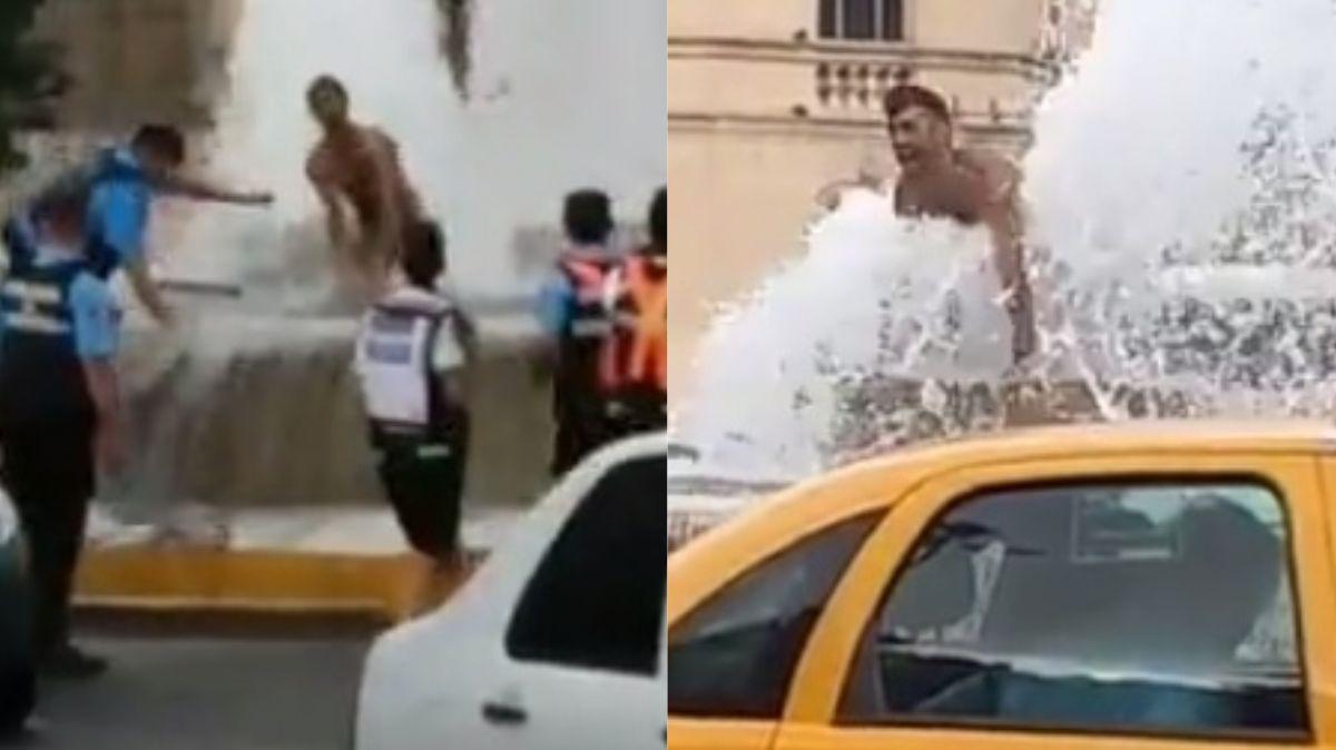 Escándalo en Córdoba por un hombre que se bañó desnudo en una fuente