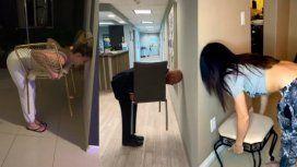 {alttext(¿Será cierto que los hombres no pueden hacer este desafío?,Cómo es el #ChairChallenge, el desafío viral que no le sale a los hombres)}