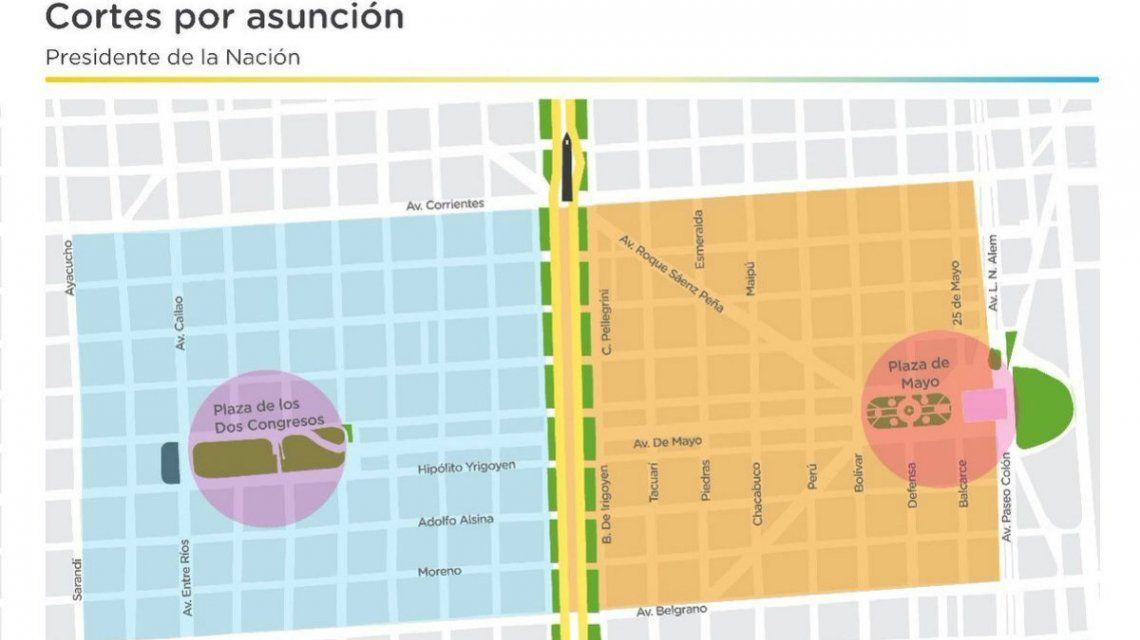 Así serán los cortes de tránsito por el acto de asunción de Alberto Fernández