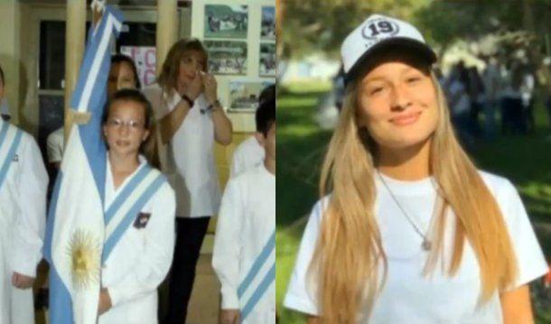 <p>Giuliana, como abanderada en primaria y en sus últimos días de clase</p>