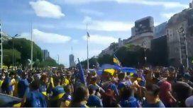 Incidentes durante los festejos por el Día del Hincha de Boca en el Obelisco