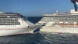 El increíble choque de dos enormes cruceros en Cozumel