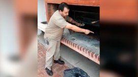 El portero de un edificio se indignó y grabó un video para enseñar a limpiar la parrilla