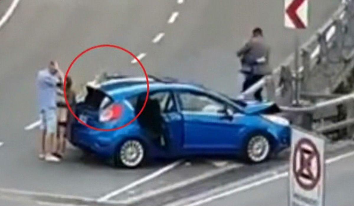 Autopista 25 de Mayo: un auto chocó contra el guardarrail y un ocupante descartó una pistola